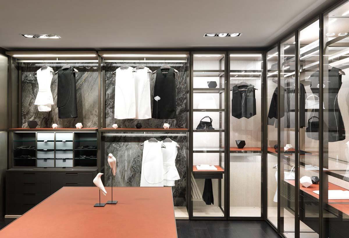 Dressing Angle Sur Mesure l'aménagement du dressing sur mesure en verre - tendances