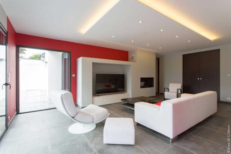 Aménagement salon contemporain - décoration d'intérieur unique et personnalisée – IDKrea, Rennes